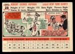 1956 Topps #28   Bobby Hofman Back Thumbnail
