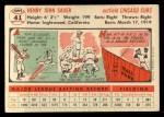 1956 Topps #41   Hank Sauer Back Thumbnail