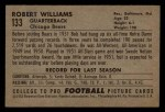 1952 Bowman Small #133  Robert Williams  Back Thumbnail