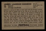 1952 Bowman Small #75   Joe Kuharich Back Thumbnail