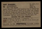 1952 Bowman Small #93  Fred Benners  Back Thumbnail