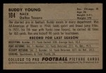 1952 Bowman Small #104   Buddy Young Back Thumbnail