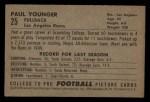 1952 Bowman Small #25  Paul Tank Younger  Back Thumbnail