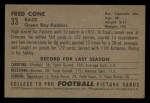 1952 Bowman Small #33   Fred Cone Back Thumbnail