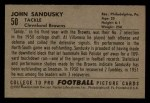 1952 Bowman Small #50  John Sandusky  Back Thumbnail