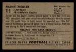 1952 Bowman Small #119  Frank Ziegler  Back Thumbnail