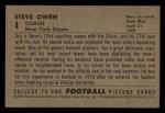 1952 Bowman Small #4  Steve Owen  Back Thumbnail