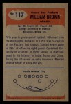 1955 Bowman #117   William Brown Back Thumbnail