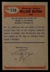 1955 Bowman #116   Bill McPeak Back Thumbnail