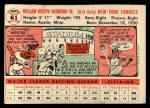 1956 Topps #61   Bill Skowron Back Thumbnail