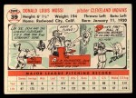1956 Topps #39   Don Mossi Back Thumbnail
