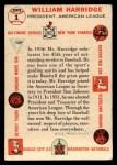 1956 Topps #1   William Harridge Back Thumbnail