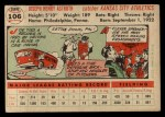 1956 Topps #106   Joe Astroth Back Thumbnail