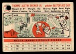 1956 Topps #34   Tom Brewer Back Thumbnail