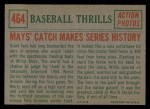 1959 Topps #464   -  Willie Mays Mays' Catch Makes Series History Back Thumbnail