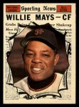 1961 Topps #579  All-Star  -  Willie Mays Front Thumbnail