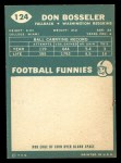1960 Topps #124  Don Bosseler  Back Thumbnail