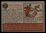1962 Topps #325  Luis Aparicio  Back Thumbnail