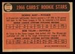 1966 Topps #179  Cardinals Rookies  -  Bobby Tolan / Dennis Aust Back Thumbnail
