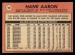 1969 Topps #100   Hank Aaron Back Thumbnail