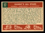 1959 Topps #17  Danny's All-Stars  -  Frank Thomas / Ted Kluszewski / Danny Murtaugh Back Thumbnail