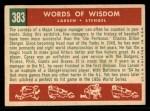 1959 Topps #383  Words of Wisdom  -  Casey Stengel / Don Larson Back Thumbnail