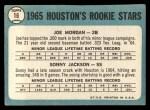 1965 Topps #16   Houston Rookie Stars  -  Joe Morgan / Sonny Jackson Back Thumbnail