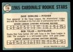 1965 Topps #116   Cardinals Rookie Stars  -  Dave Dowling / Bobby Tolan Back Thumbnail