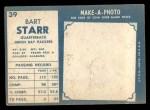 1961 Topps #39  Bart Starr  Back Thumbnail