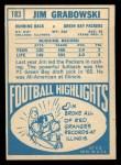 1968 Topps #183   Jim Grabowski Back Thumbnail