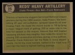 1961 Topps #25  Reds Heavy Artillery  -  Vada Pinson / Gus Bell / Frank Robinson Back Thumbnail
