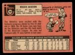 1969 Topps #260   Reggie Jackson Back Thumbnail