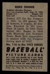 1952 Bowman #116   Duke Snider Back Thumbnail