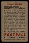 1951 Bowman #20   Tom Landry Back Thumbnail