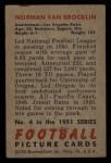1951 Bowman #4   Norm Van Brocklin Back Thumbnail