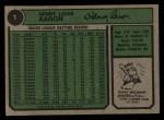1974 Topps #1  New All-Time Home Run King  -  Hank Aaron Back Thumbnail