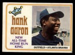 1974 Topps #1  New All-Time Home Run King  -  Hank Aaron Front Thumbnail