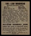 1949 Leaf #106   Lou Boudreau Back Thumbnail