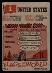 1956 Topps Flags of the World #1  United States  Back Thumbnail