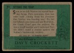 1956 Topps Davy Crockett #7 GRN  Setting the Trap  Back Thumbnail