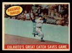 1959 Topps #462  Colavito's Great Catch Saves Game  -  Rocky Colavito Front Thumbnail