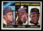 1966 Topps #215   -  Hank Aaron / Roberto Clemente / Willie Mays NL Batting Leaders Front Thumbnail