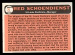 1966 Topps #76   Red Schoendienst Back Thumbnail