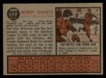 1962 Topps #177 A Bob Bobby Shantz  Back Thumbnail