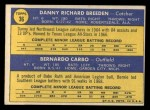 1970 Topps #36  Reds Rookie Stars  -  Danny Breeden / Bernie Carbo Back Thumbnail