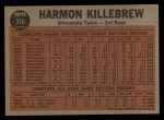 1962 Topps #316   -  Harmon Killebrew Killebrew Sends One Into Orbit Back Thumbnail