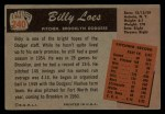 1955 Bowman #240   Billy Loes Back Thumbnail