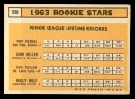 1963 Topps #208   -  Ron Herbel / John Miller / Wally Wolf / Ron Taylor Rookies   Back Thumbnail