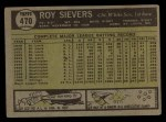 1961 Topps #470  Roy Sievers  Back Thumbnail