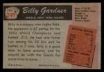 1955 Bowman #249   Billy Gardner Back Thumbnail